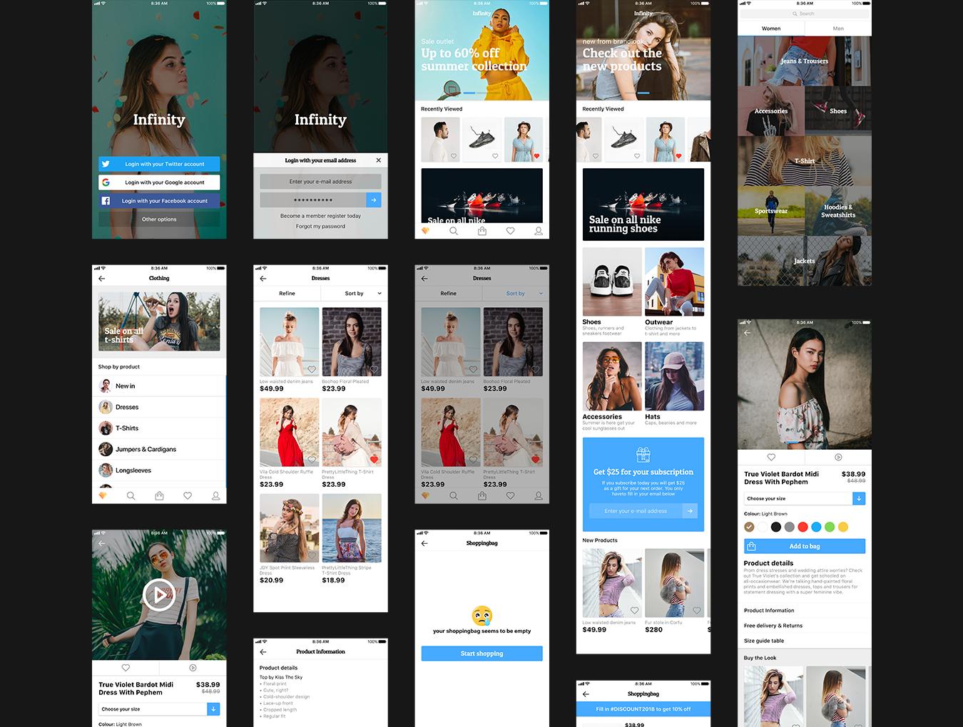 扁平化时尚购物APP E-commerce Fashion App UI Kit