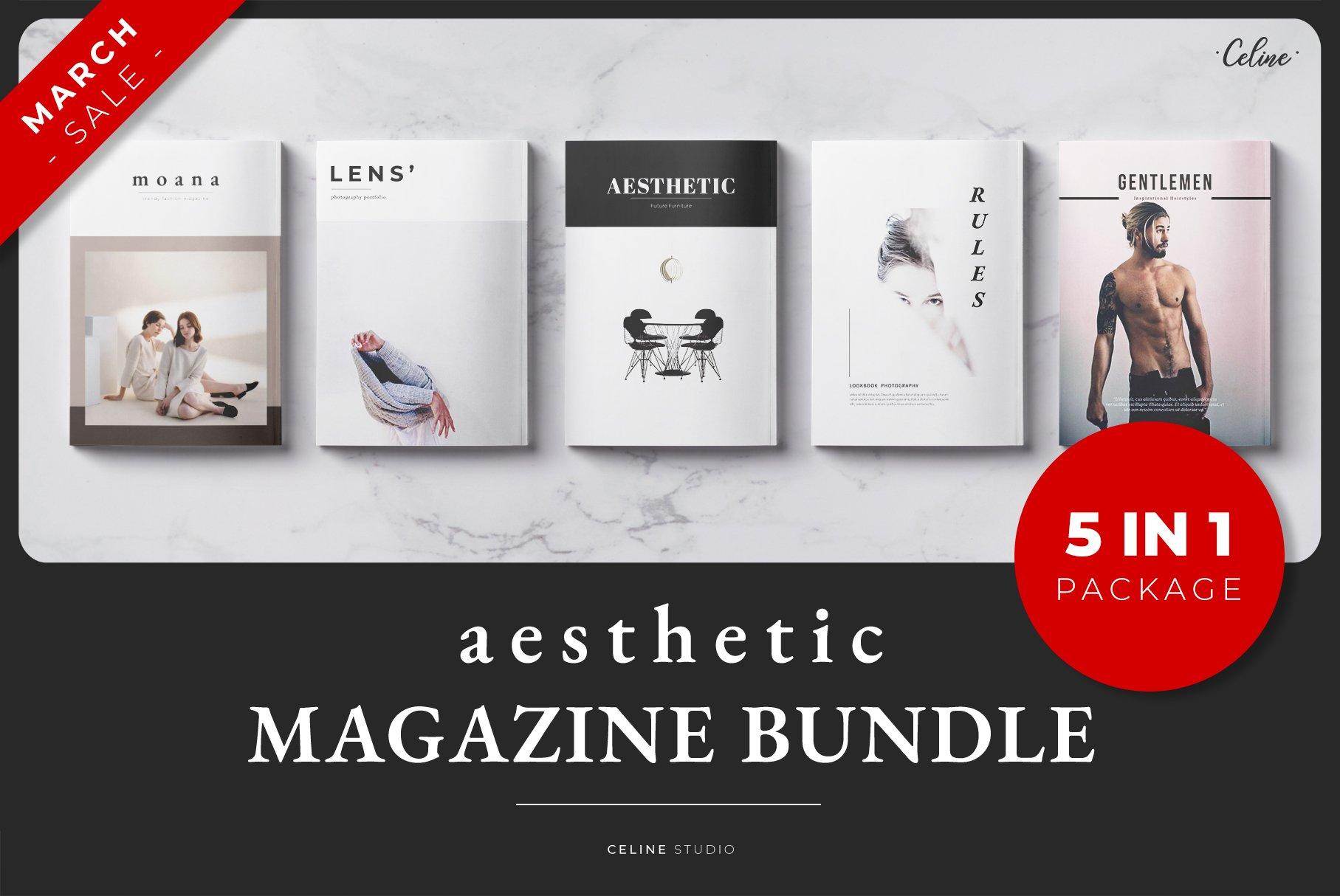 极简生活类展示杂志模板 AESTHETIC Magazine Bundle (5 IN 1)
