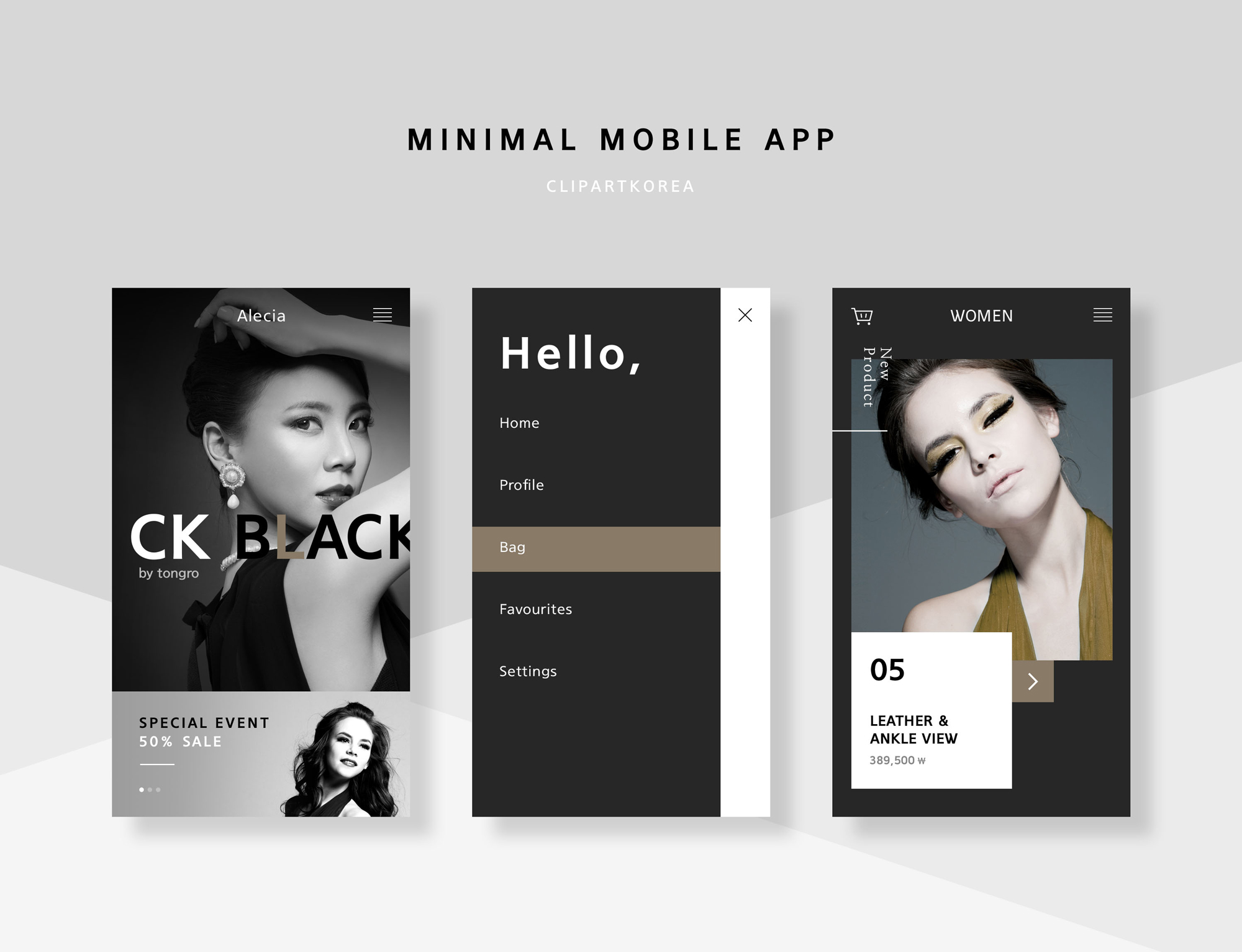 黑色扁平风购物APP minimal mobile app