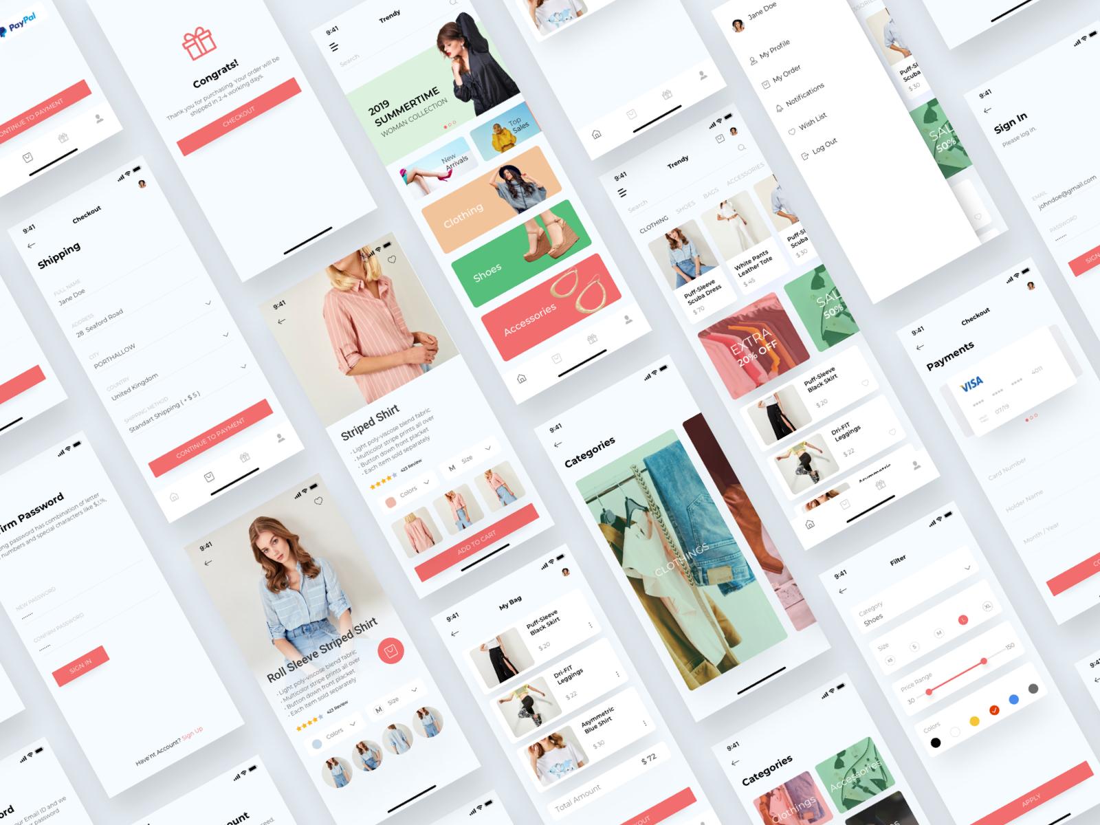 时尚购物电子商务UI / UX套件Trendy Shopping eCommerce UI/UX KIT