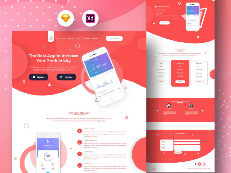 娱乐音乐APP官方网站红色 New Mobile App Landing Page