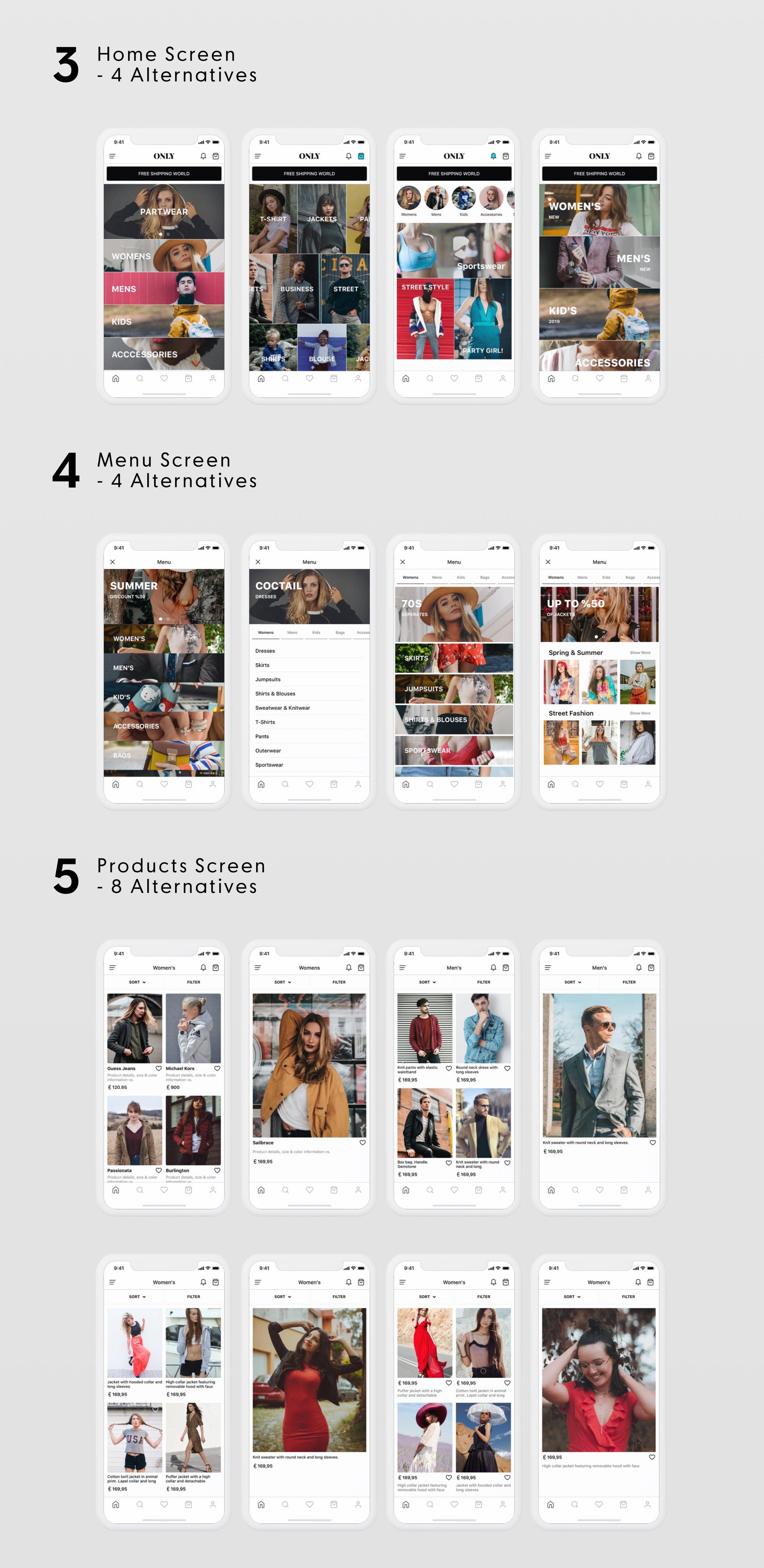 时尚移动电子商务UI工具包ONLY Fashion Mobile E-Commerce UI Kit