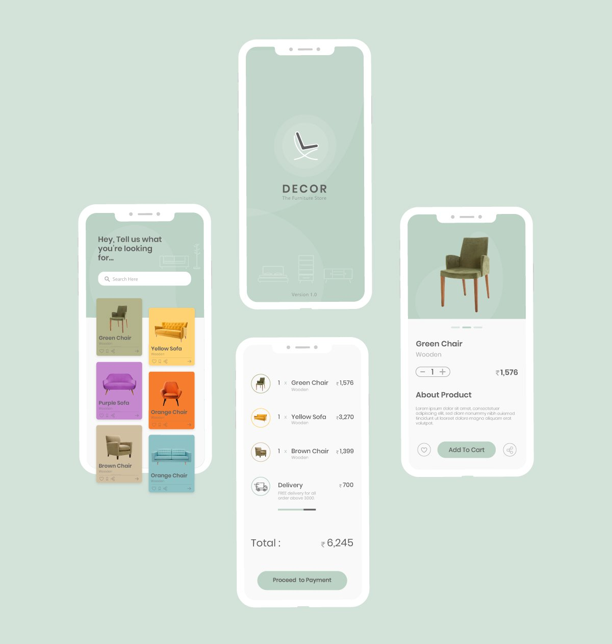 家居电商购物APP UI界面Concept of Furniture Store