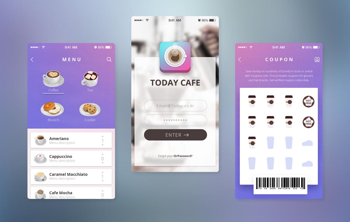 紫色风格餐饮APP Today Cafe UI