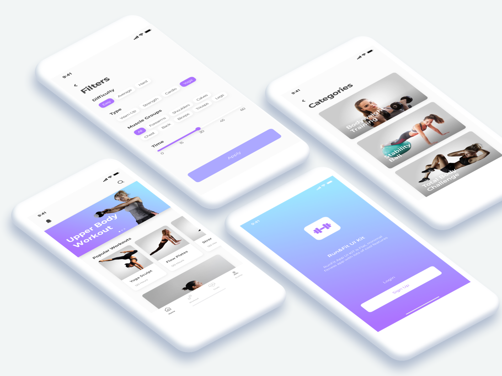 运动健身类套件Run&Fit Fitness App UI Kit
