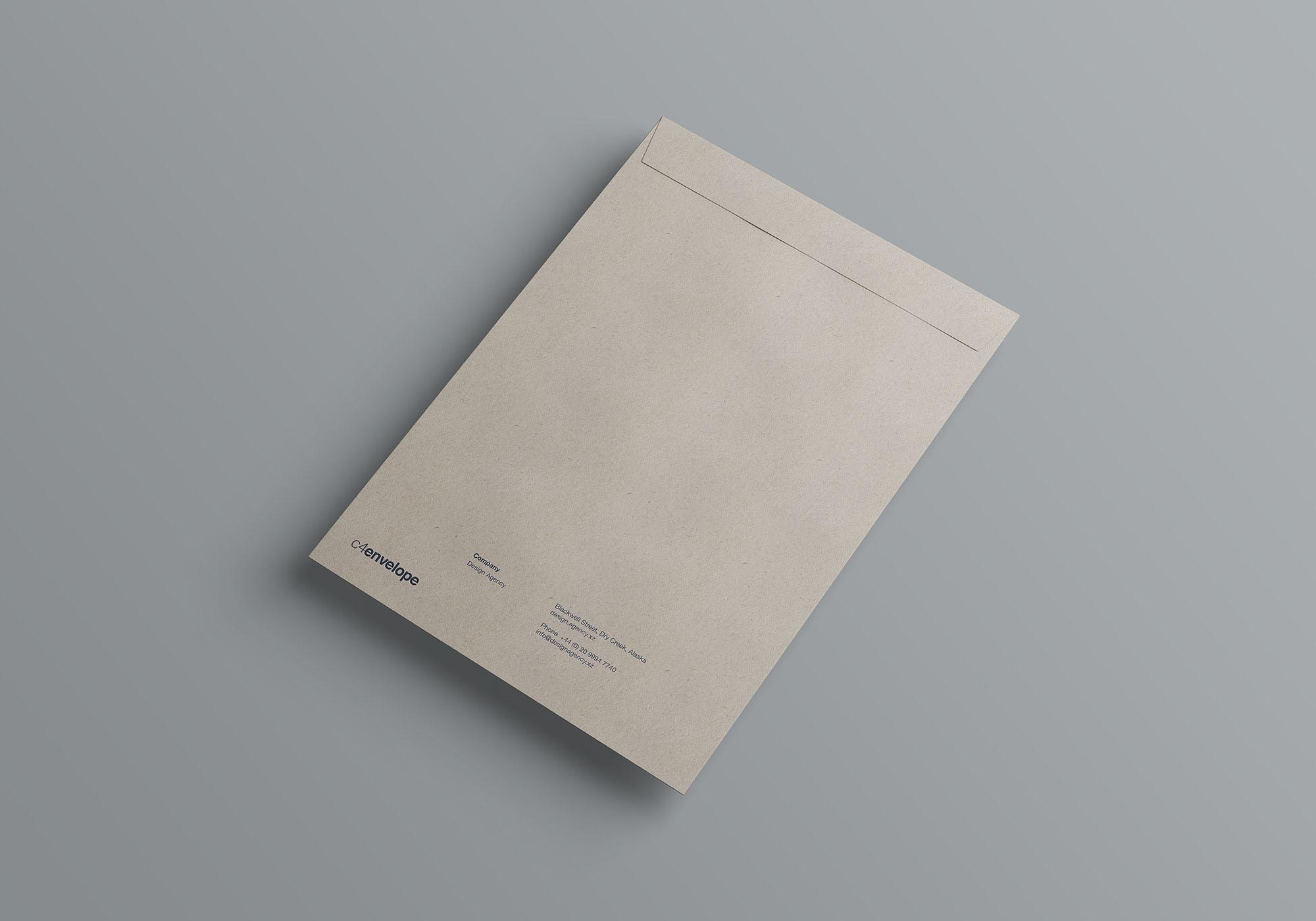 档案袋文件袋展示样机 C4 Envelope Mockup
