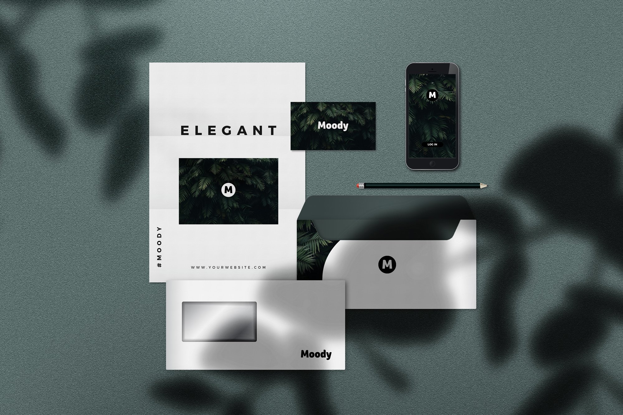 深色系品牌设计提案展示样机 elements 8 identity stationery mockups H98NAL