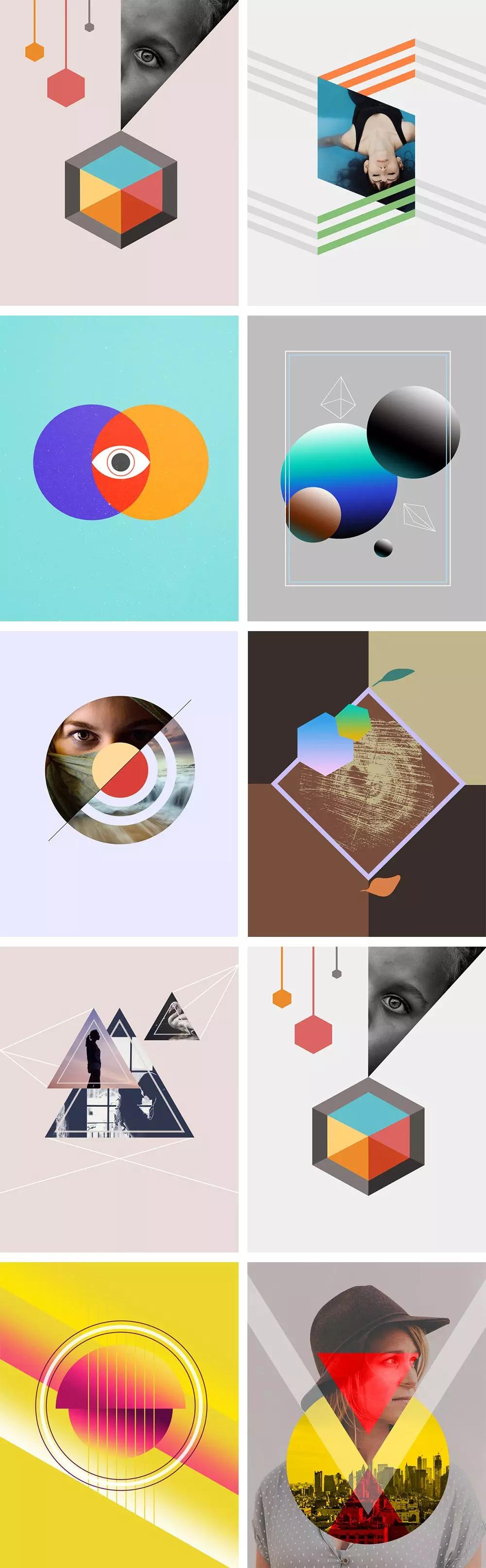 抽象好用的图形海报素材PSD下载