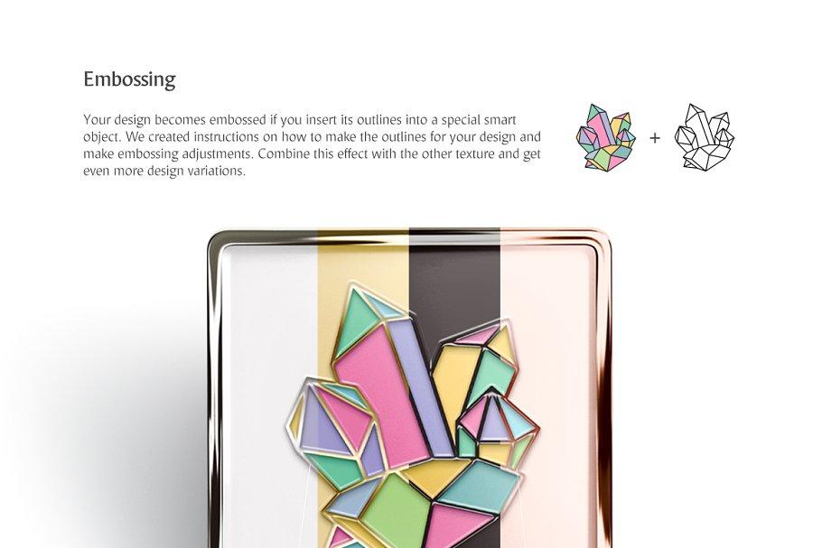 方形胸针徽标压花轮廓逼真效Enamel Pin Mockups Set