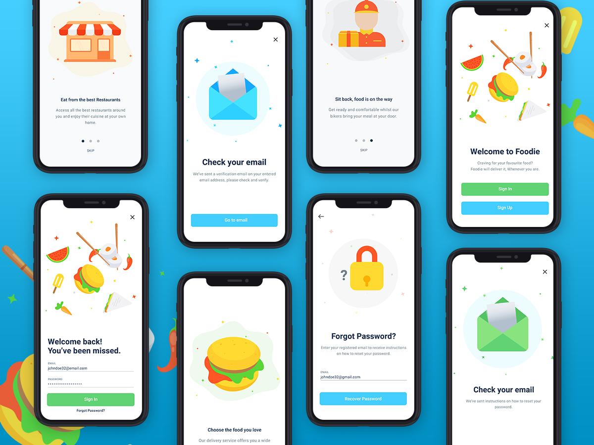 食品类APP UI设计Food 空状态 App Login and Register Part-1
