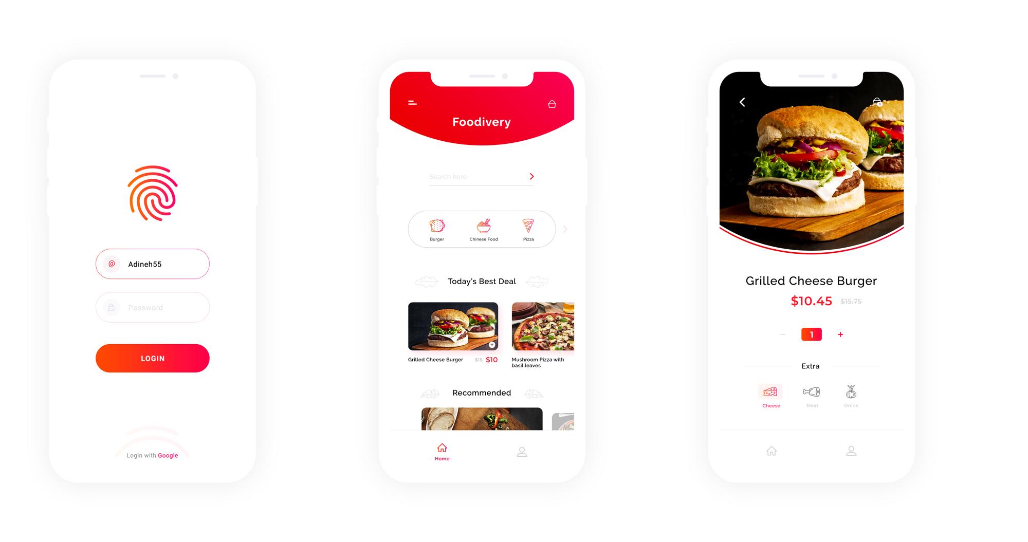 扁平化简约餐饮APP Foodivery App