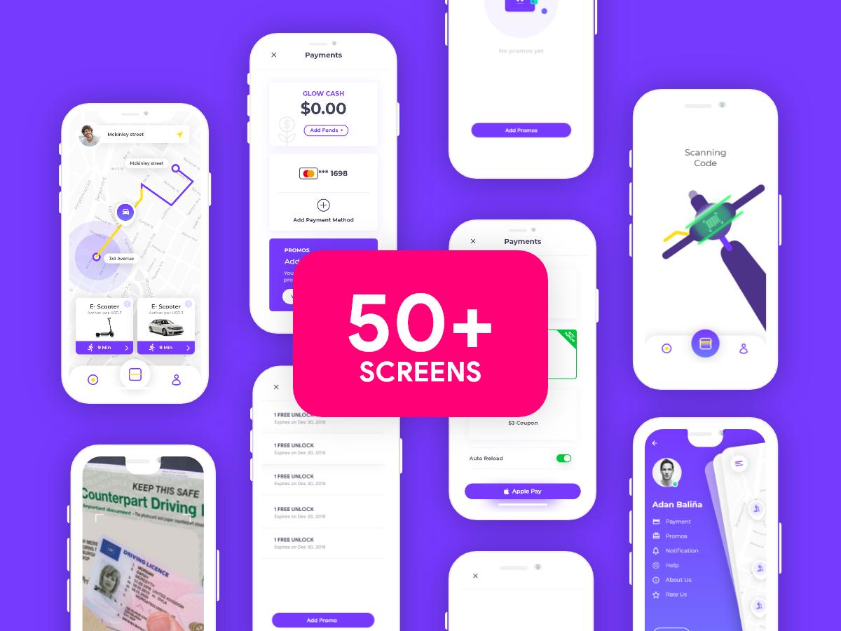 极简风界面设计方案50+Glow App Ui kit (50+ Screens)