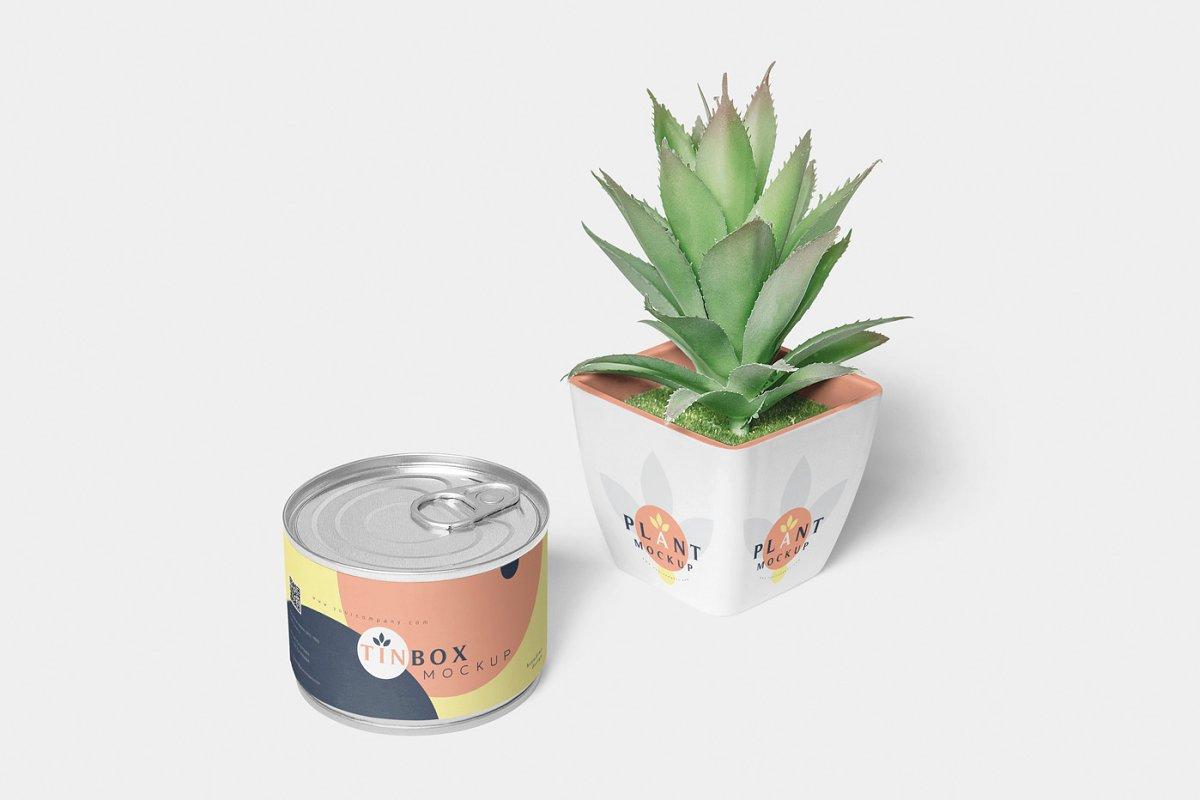 罐头包装样机模板展示Food Tin Packaging Mockups 3483317