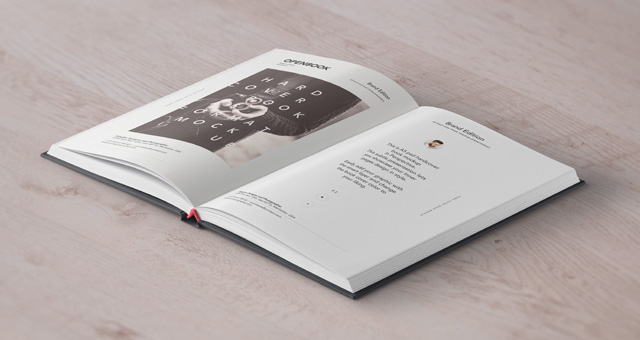 精装书样机Open Hardcover Book Mockup