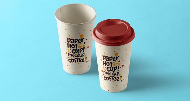 奶茶饮料纸杯热饮一次性杯子模板包装展示样机Paper Hot Cup Template