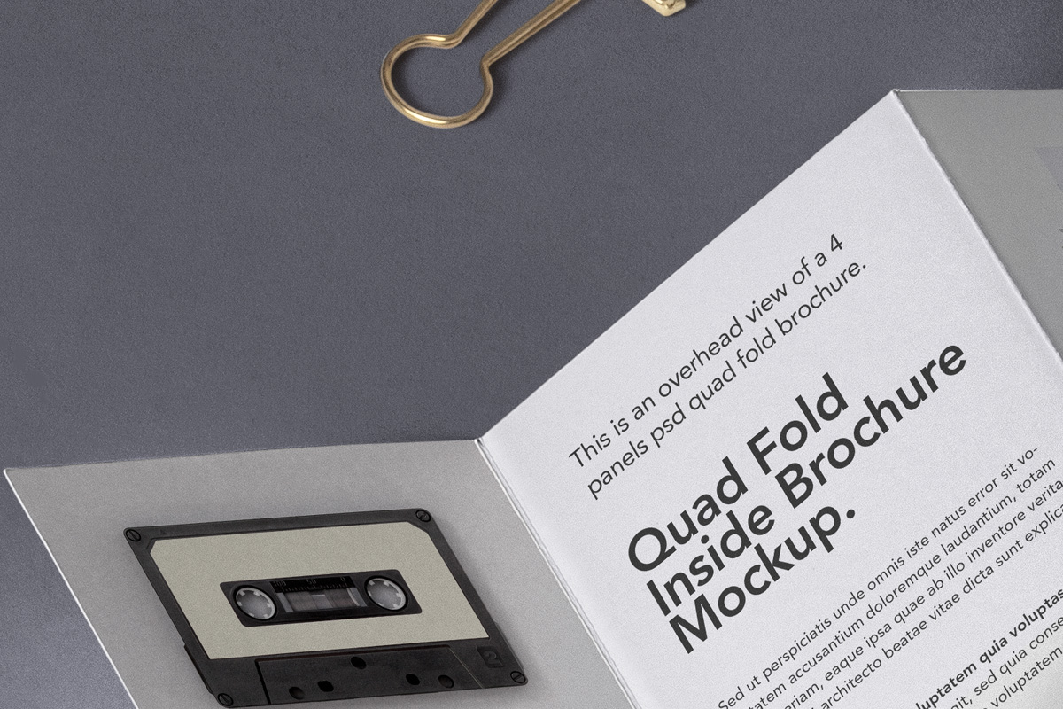 折叠面板Psd宣传册样机4 Fold Panel Psd Brochure Mockup