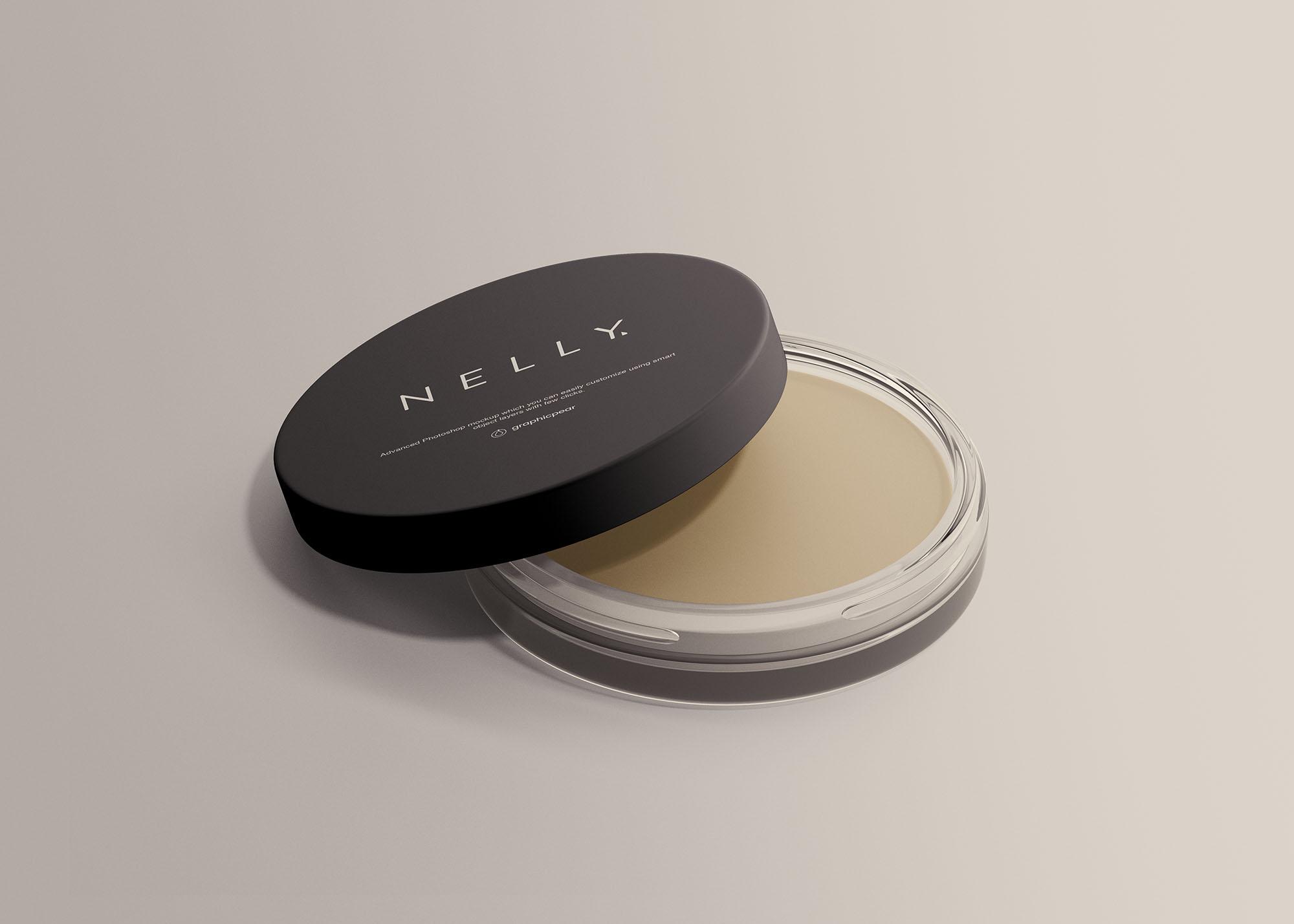 护肤品化妆品盒子包装展示样机 Clear Glass Cosmetic Jar Mockup