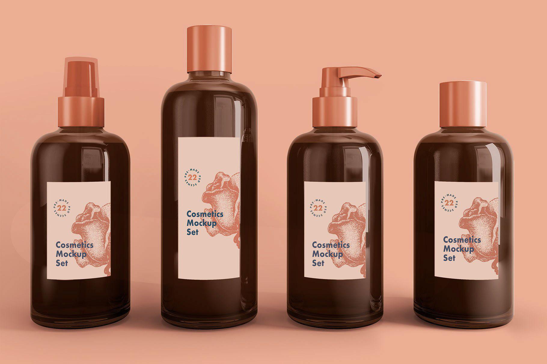 22款化妆品套装样机 22 High-Resolution Realistic Cosmetic Kits