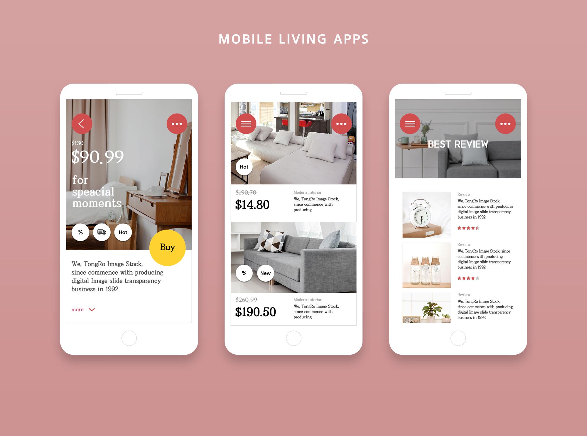 家居扁平风 Mobile living Apps2