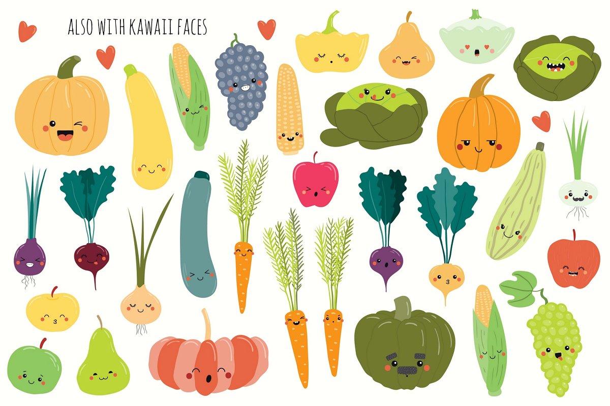 矢量水果蔬菜插画主题包Happy-Harvest-Time-Vector-Set