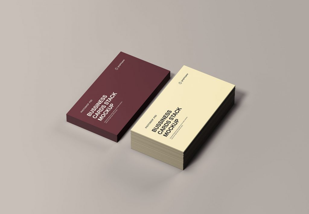 名片样机 Business Cards Stack Mockup