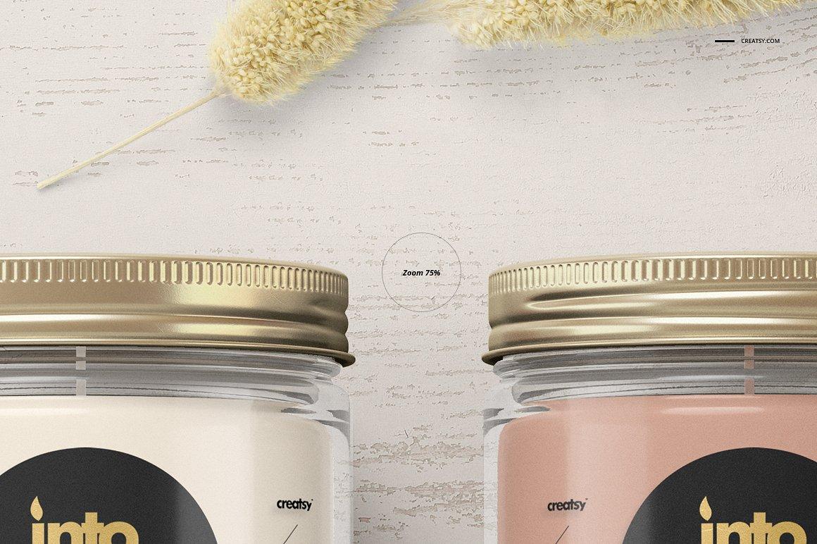 精致的蜡烛香薰玻璃杯包装设计展示样机品牌PSD智能贴图 Jar Candle Mockup Set