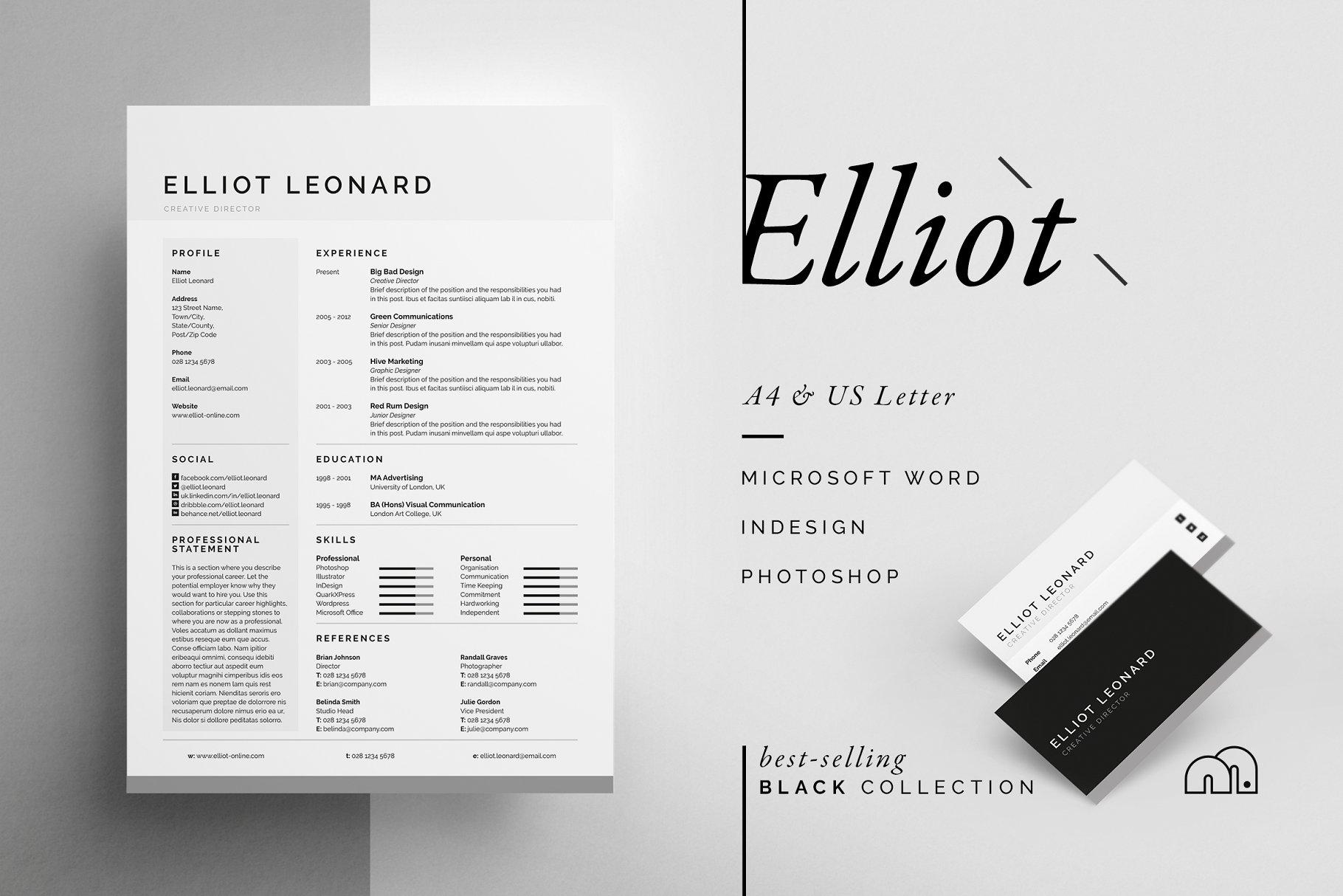 极简简历模板 Elliot – Resume/CV