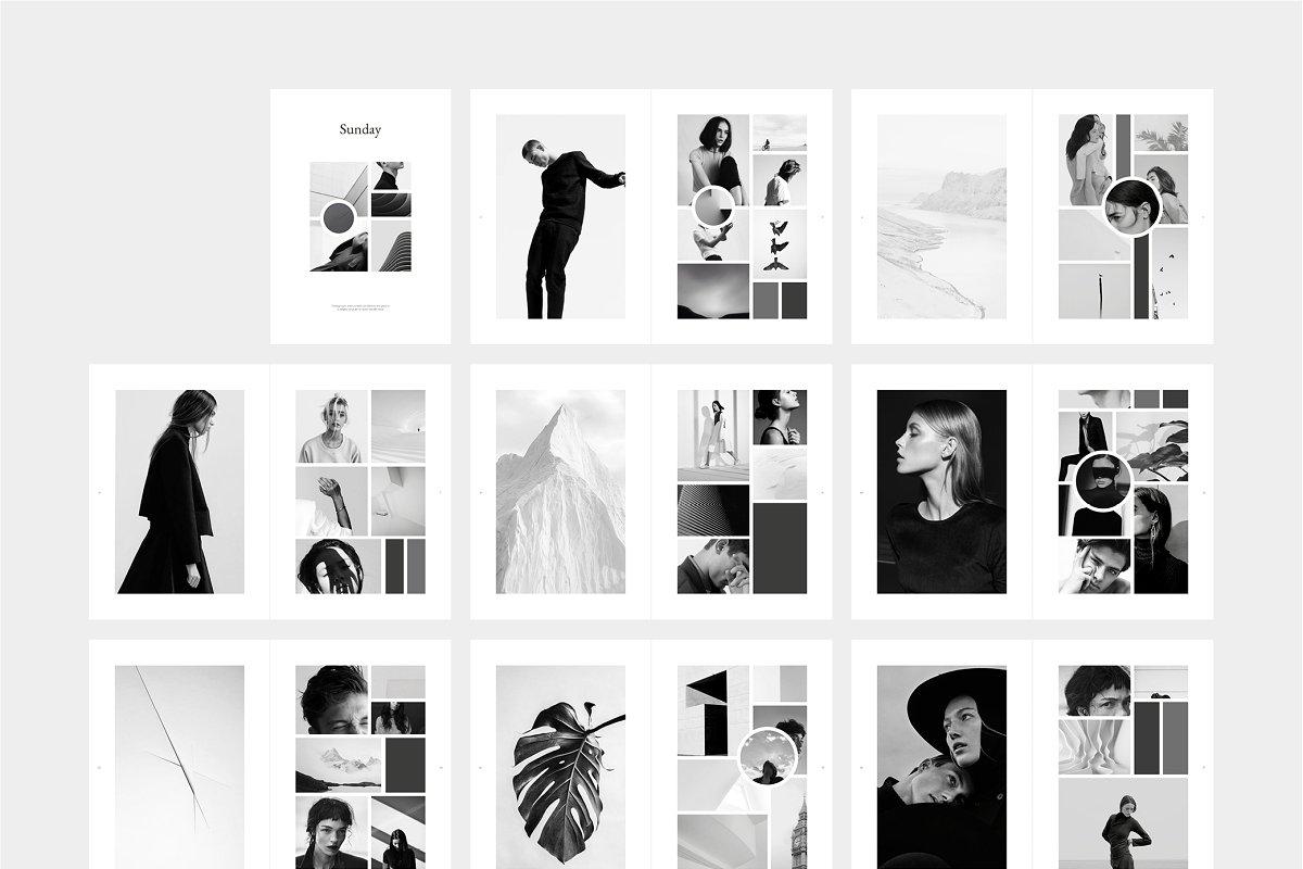 黑白极简主义杂志画册模板展示SUNDAY_Moodboard_Magazine