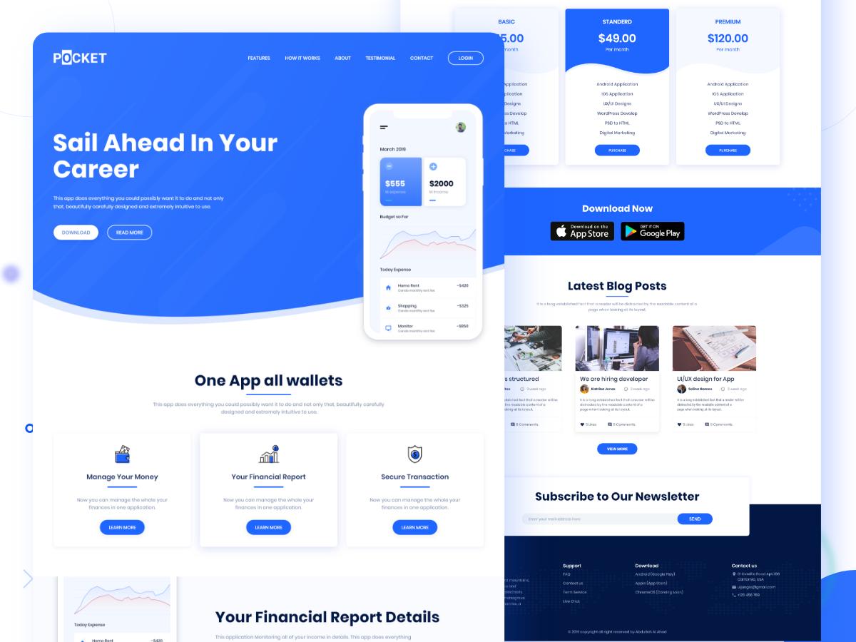 蓝色简约商业界面UI设计web网页 Pocket App Landing Page Freebie