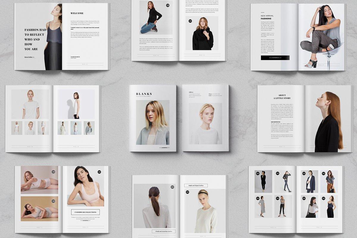 流行高端服装展示画册模板BLANKS | Minimal Lookbook/Magazines