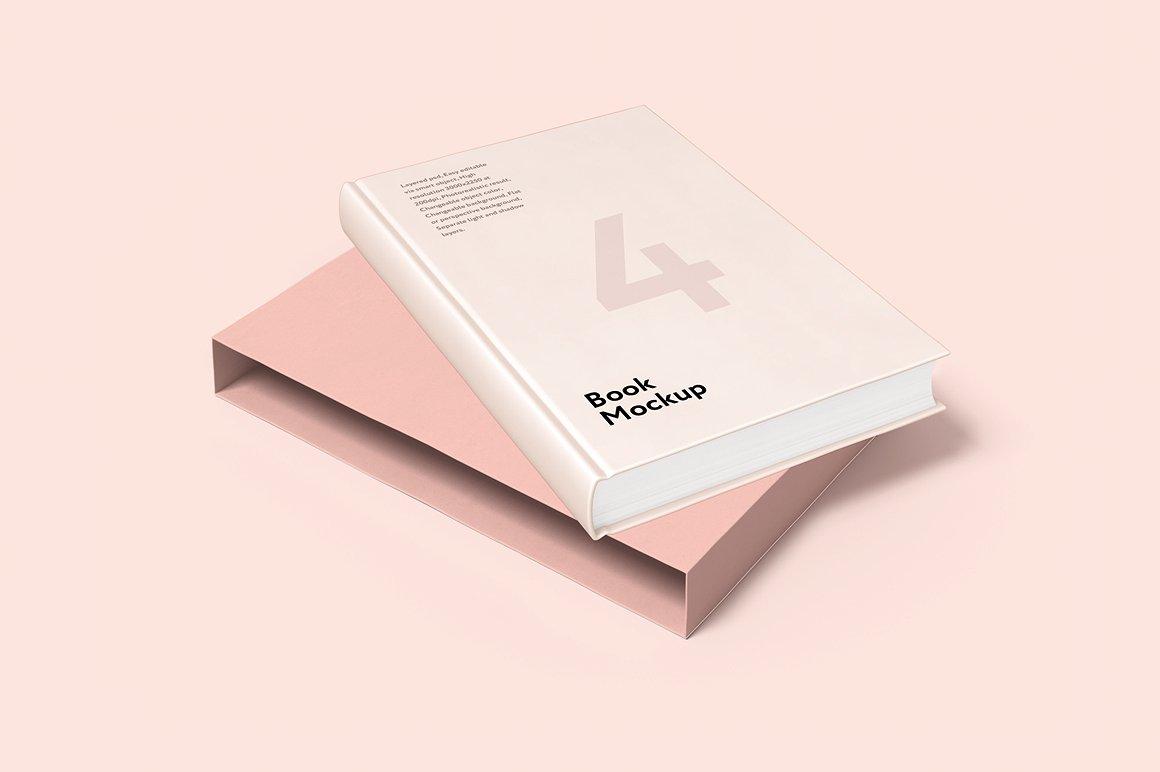 精装高端书籍封面贴图样机 Book And Cover Mockup 4psd