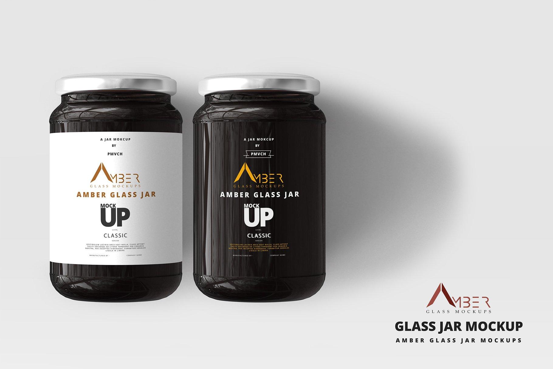 蜂蜜罐头LOGO标签设计提案玻璃瓶展示样机PSD智能贴图模板 Amber Glass Jar Mockup
