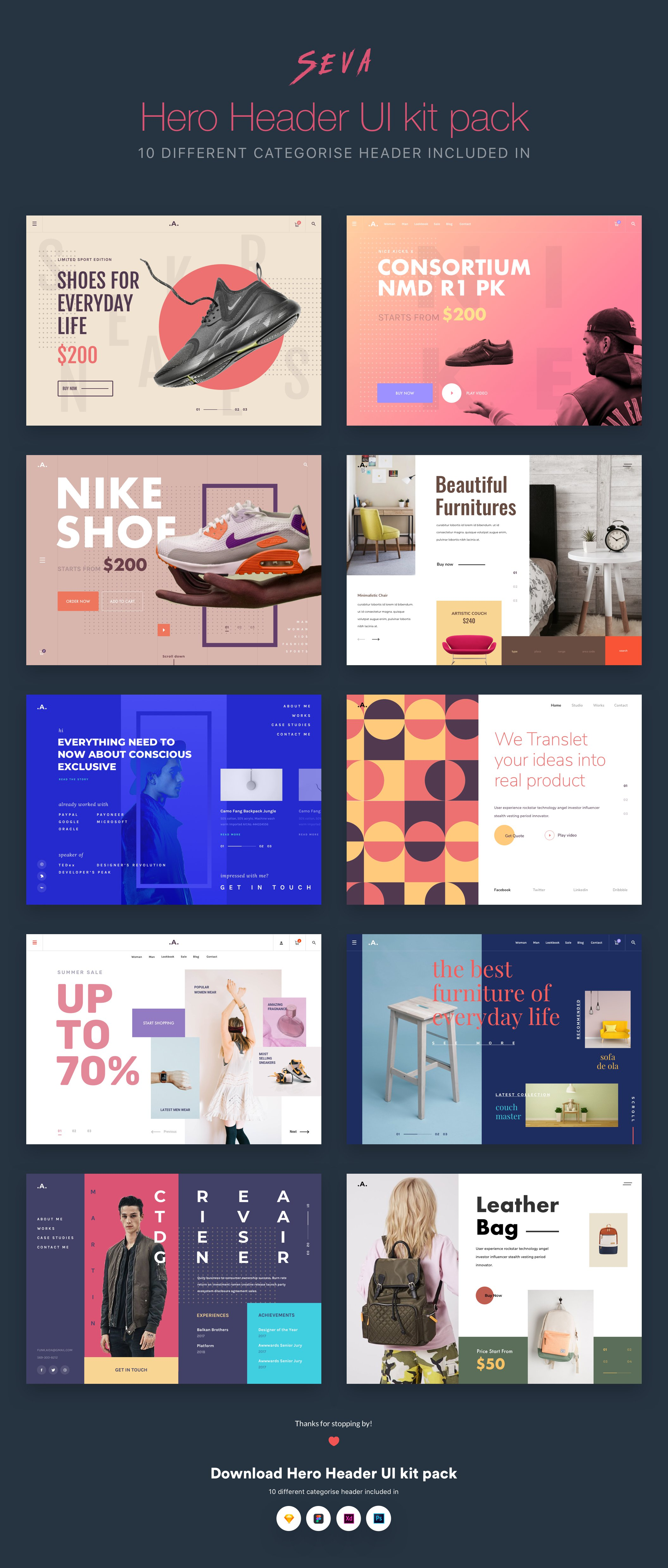 精品电商网页WEB购物 UI设计展示图模板 Seva header ui kit pack