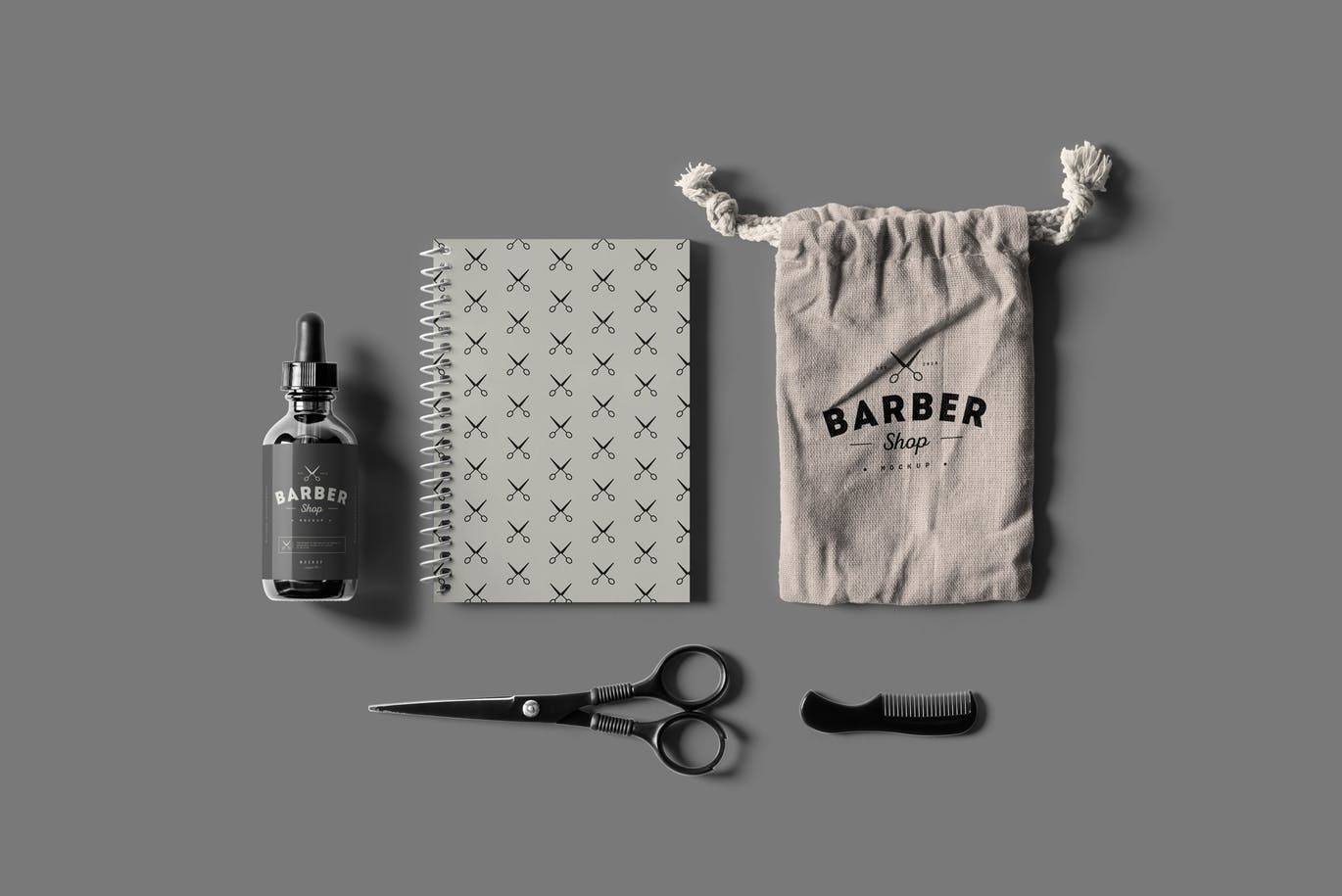 美容美发品牌样机VI展示名片展示Barber Shop Branding Mock-up