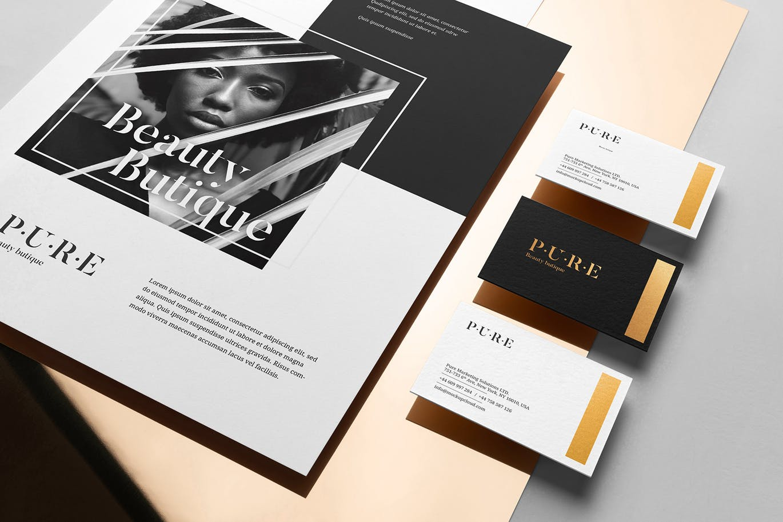 (精品)经典配色轻奢质感房地产VI品牌设计样机展示模型pure branding mockup vol 2插图(1)