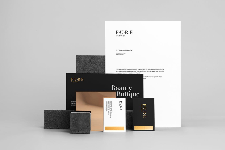 (精品)经典配色轻奢质感房地产VI品牌设计样机展示模型pure branding mockup vol 2插图(4)