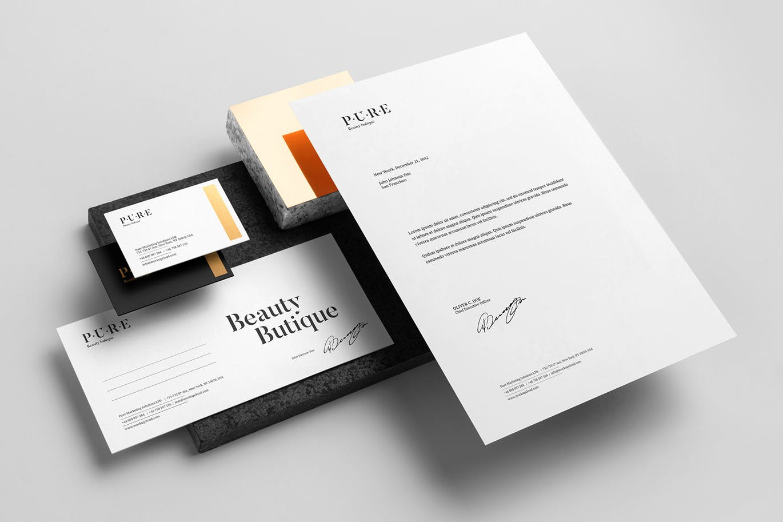 (精品)经典配色轻奢质感房地产VI品牌设计样机展示模型pure-branding-mockup-vol-2