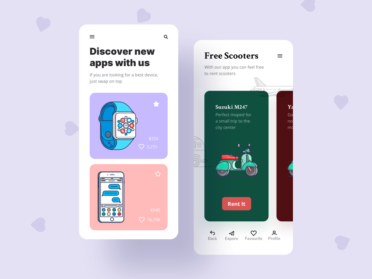 手表  手机和滑板车插图引导页及产品页面介绍Discover