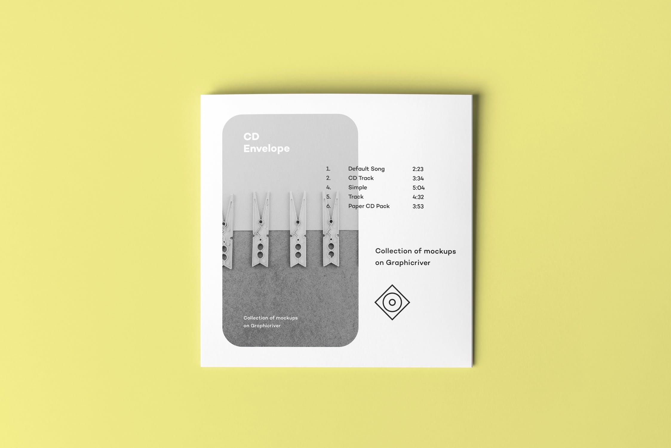 高端CD唱片样机模板素材 多场景素材样机展示CD Envelope Mock-up 2