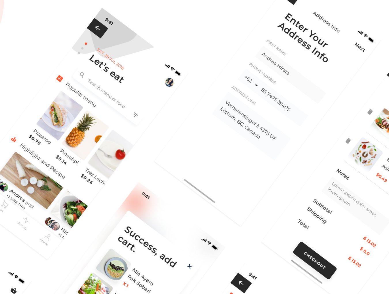 时尚简约餐饮行业APP bakar UI Kit