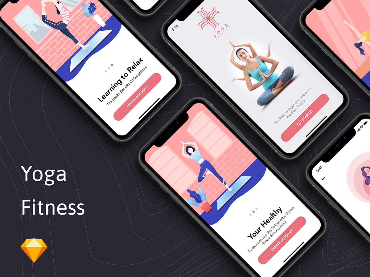 瑜伽健身APP界面展示Yoga Fitness App - Onboarding Concept