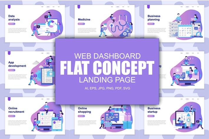 WEB端登录页插画风格UI模板 Landing Page Templates02