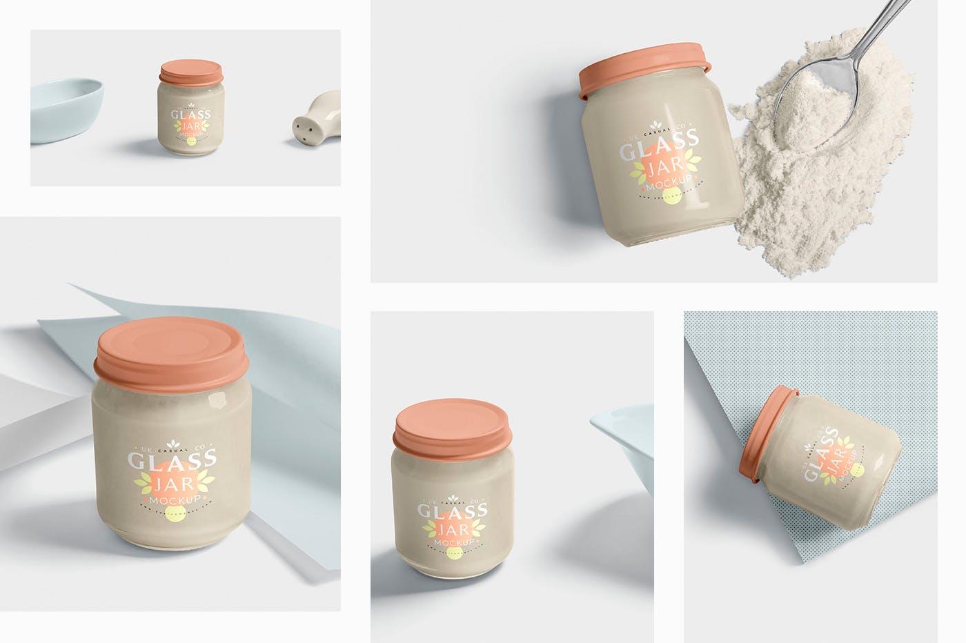 白砂糖包装罐样机素材模板  场景样机展示5 Glass Jar Mockups