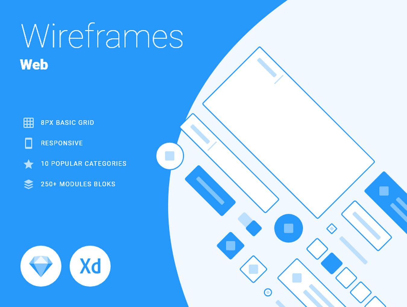 WEB端蓝色风格线框图UI套件 Responsive Wireframes