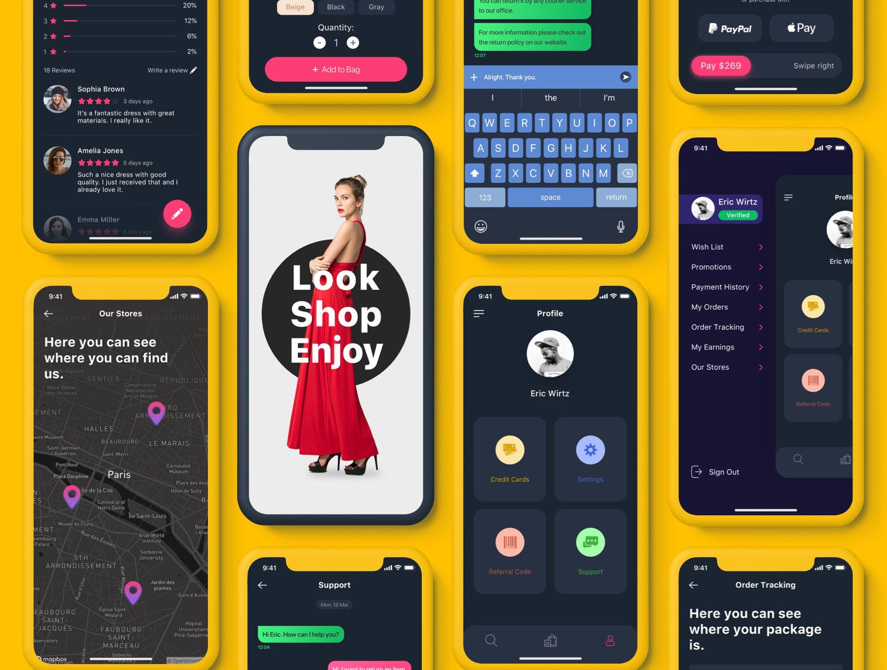 扁平风时尚电子商务购物APP Trendy | E-commerce UI Kit