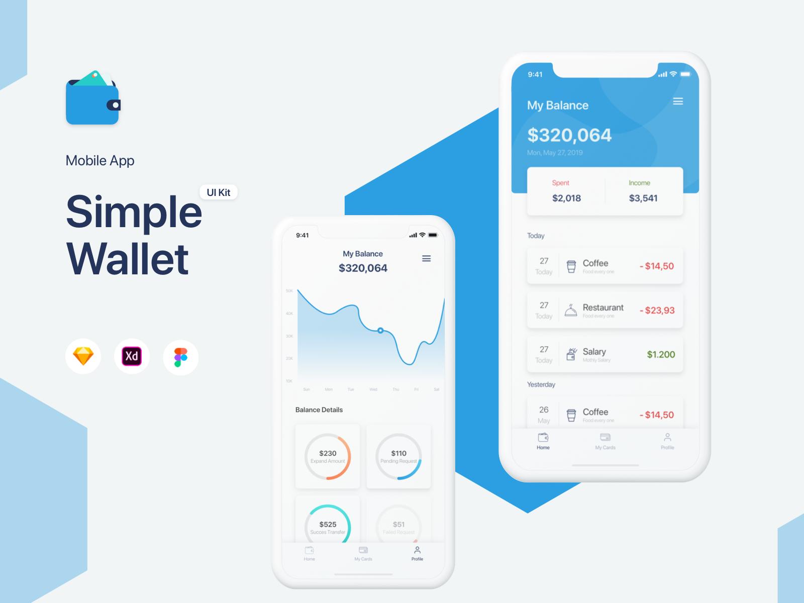 扁平化蓝色简约金融行业钱包APP Simple Wallet App UI UX Kit