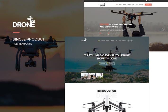 WEB端无人机企业网站PSD模板 Drone Single Product PSD Template