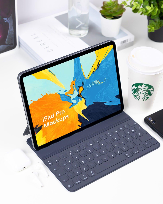 新款苹果平板电脑样机展示效果iPad Pro App Mockup Set - Vol 01