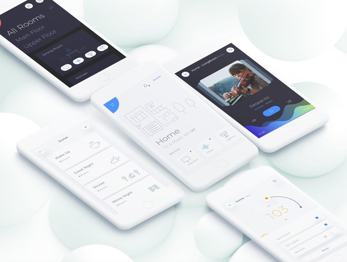 一款简约的智能家居家庭移动应用APP Automatic Home Mobile APP