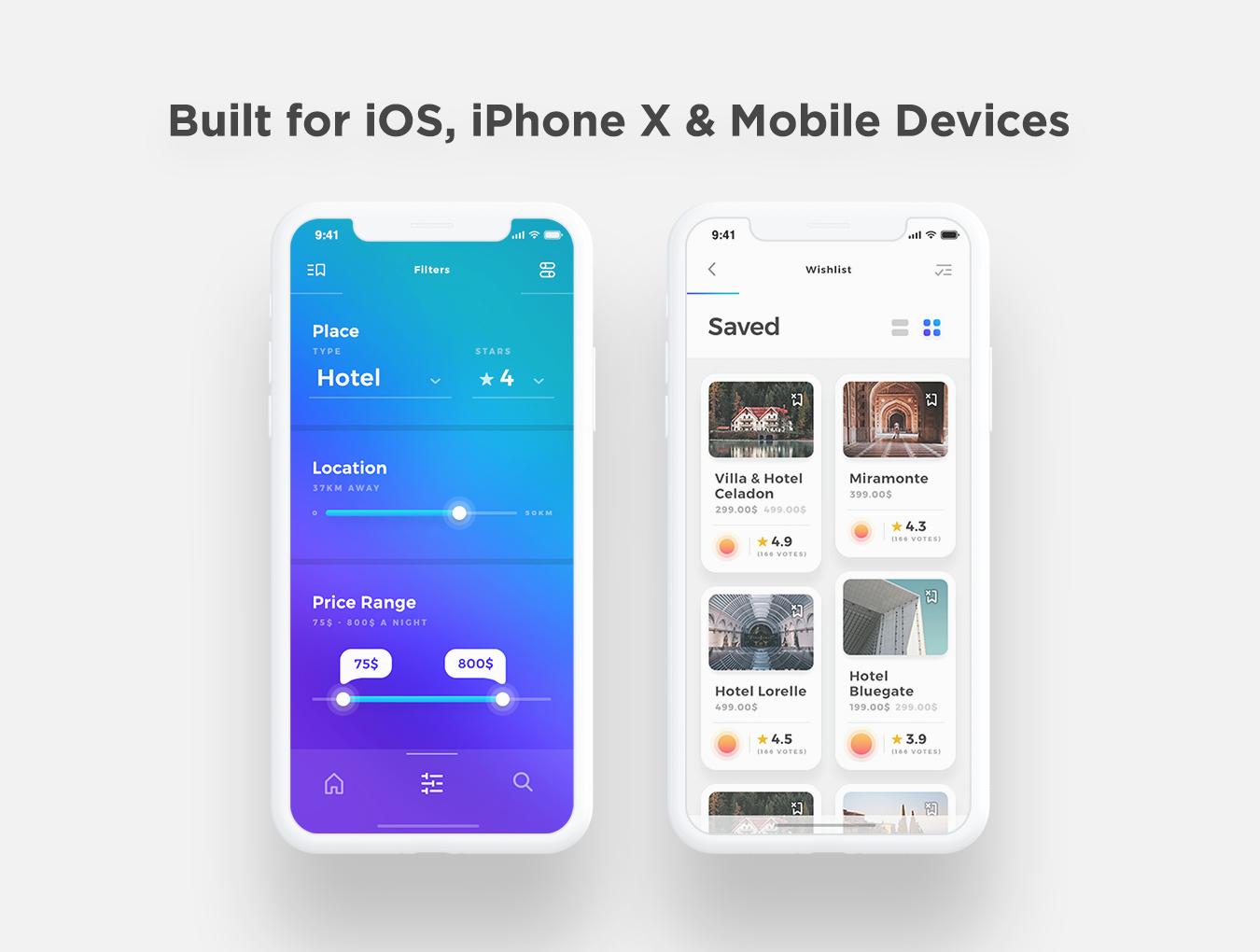 精美时尚IOS风格旅店服务应用APP Sofia iOS UI Kit